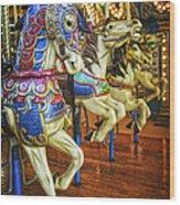 Dancing Horses Wood Print