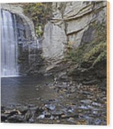 Looking Glass Falls With Trout Fishing - North Carolina Waterfalls Series Wood Print