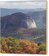 Looking Glass Rock And Fall Folage Wood Print
