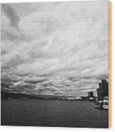 looking out from coal harbour into Vancouver Harbour on an overcast cloudy day BC Canada Wood Print
