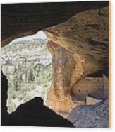 Looking Out Of A Cave Of Gila Dwellings Wood Print