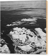 Looking Out Of Aircraft Window Over Snow Covered Fjords And Coastline Of Norway Northern Europe Wood Print