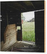 Looking Out Old Barn Wood Print