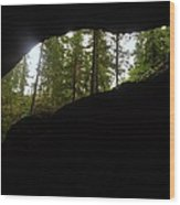 Looking Outside Boulder Cave Wood Print