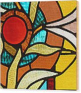 Looking Through Stain Glass Wood Print by Thomas Fouch