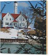 Looking Through The Pines - Sturgeon Bay Coast Guard Station Wood Print