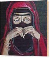 Looking Through Niqab Wood Print