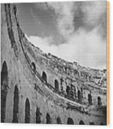 Looking Up At Blue Cloudy Sky And Upper Tiers Of The Old Roman Colloseum At El Jem Tunisia Wood Print