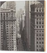 Looking Up Broadway In Nyc Wood Print
