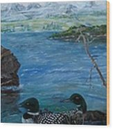 Loon Family And Morning Mist Wood Print