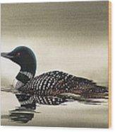 Loon In Still Waters Wood Print