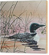 Loon Sunset Wood Print by James Williamson