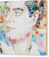 Lord Byron - Watercolor Portrait Wood Print