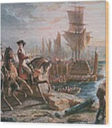 Lord Howe Organizes The British Evacuation Of Boston In March 1776 Wood Print by English School