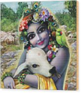 Lord Krishna On The Govardhan Wood Print