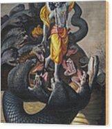 Lord Krishna Subdueing Kaliya Wood Print