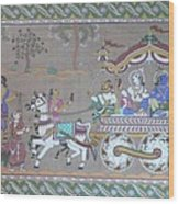 Lord Krishna With Brother Visiting Mathura Wood Print