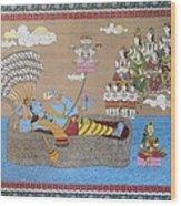 Lord Vishnu In Ananta Sayan Posture Wood Print