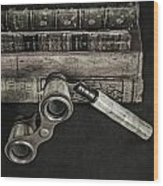 Lorgnette With Books Wood Print