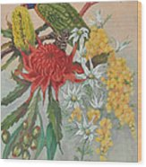 Lorikeet And Wildflowers Wood Print