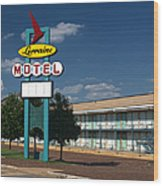 Lorraine Motel Sign Wood Print by Joshua House
