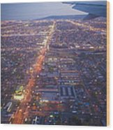 Los Angeles Aerial Overview On Approach To Lax At Night  Wood Print