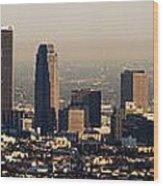 Los Angeles In Silver Light Wood Print