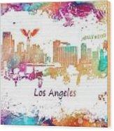 Los Angeles California Skyline Colored Wood Print