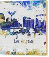 Los Angeles California Skyline Yellow Blue Wood Print