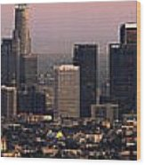 Los Angeles Dusk Wood Print