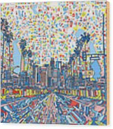 Los Angeles Skyline Abstract 3 Wood Print