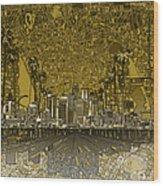 Los Angeles Skyline Abstract 4 Wood Print