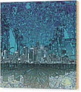 Los Angeles Skyline Abstract 5 Wood Print