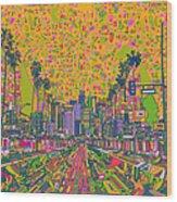 Los Angeles Skyline Abstract Wood Print