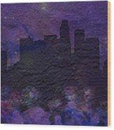 Los Angeles Skyline Brick Wall Mural Wood Print