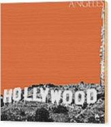 Los Angeles Skyline Hollywood - Coral Wood Print