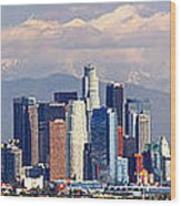 Los Angeles Skyline With Mountains In Background Wood Print