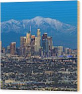 Los Angeles Skyline With Snow Capped Mountains Wood Print
