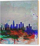 Los Angeles  Watercolor Skyline 1 Wood Print