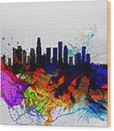 Los Angeles  Watercolor Skyline 2 Wood Print