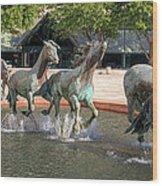 Los Colinas Mustangs 14707 Wood Print
