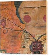 Los Corazones De Mi Arbol Wood Print by Thelma Lugo