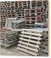 Lots Of Pallets Wood Print by Olivier Le Queinec