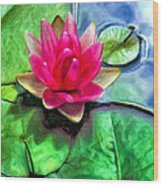 Lotus Blossom And Cloud Reflection Wood Print