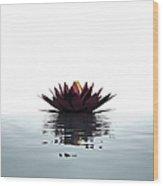 Lotus Flower Floating On The Water Wood Print