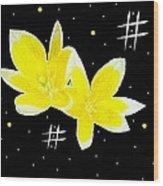 Lotus On Black Wood Print