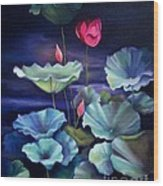 Lotus On Dark Water Wood Print
