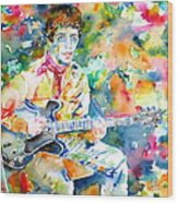 Lou Reed Playing The Guitar - Watercolor Portrait Wood Print