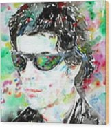 Lou Reed Watercolor Portrait.2 Wood Print