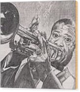 Louie Armstrong Wood Print by Beverly Marshall